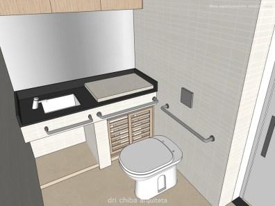 Banheiro para P.N.E., com bancada para trocador de fraldas