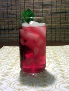 Cranberry juice mojito with mint and Bacardi Limon