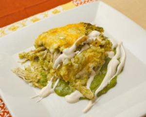 Chicken enchiladas verdes with sour cream
