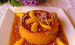 Lavender and Peach Flan