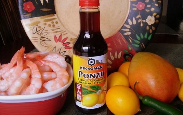 Ingredients to prepare the  UMAMI Shrimp Ceviche