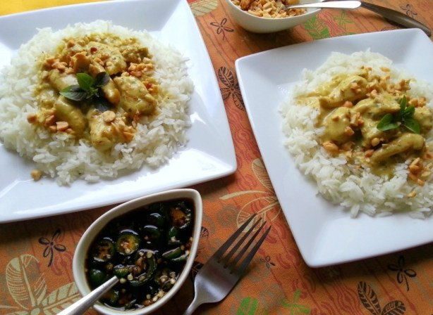 Thai Green Curry Chicken with Campbells Skillet Sauces for Two #dinnersauces