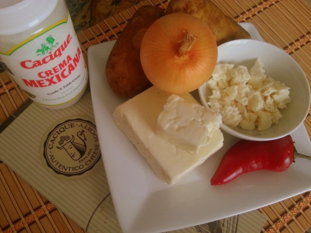 Ingredients to prepare Potato Cream Soup with Cacique Cheese and Crema Mexicana