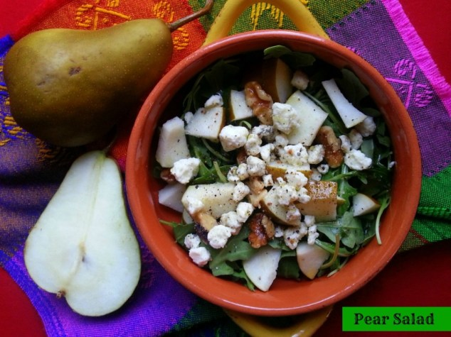 Bosc Pear Salad with field greens, gorgonzola dolce and walnuts #ABRrecipes #VRE
