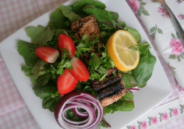 Plated Grilled Salmon Salad with Kale and Strawberries #ABRecipes