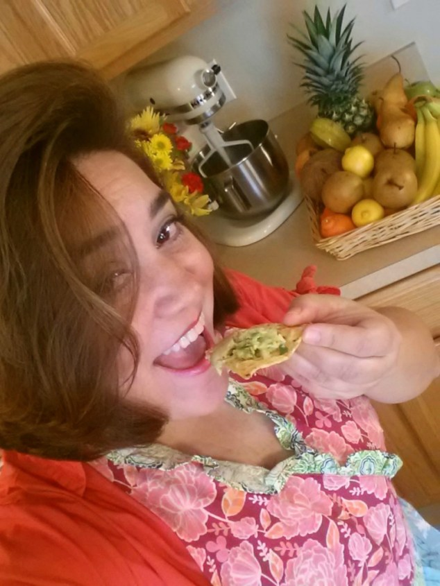 Adriana Martin tasting the fresh guacamole #ABRecipes