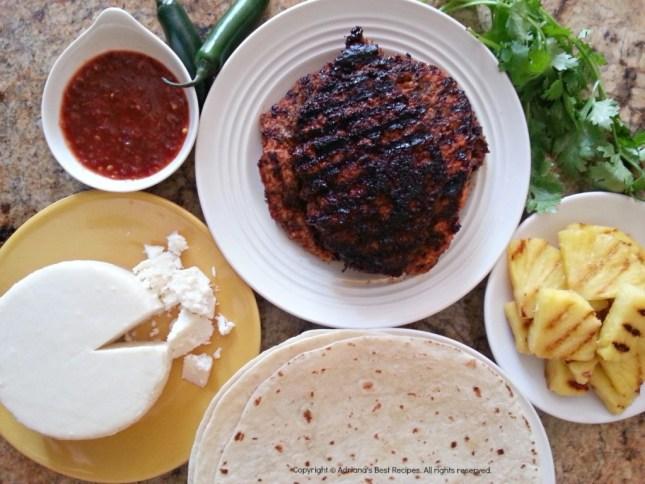 Carne pastor, salsa roja, pina, queso cacique for la gringa quesadilla #ABRecipes #GoAutentico #QuesadillaCookOff #CincodeMayo #AD