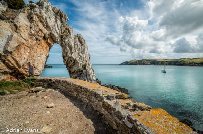 Natural Arch at Porth Wen Brickworks Cemaes Bay Anglesey, north Wales, UK