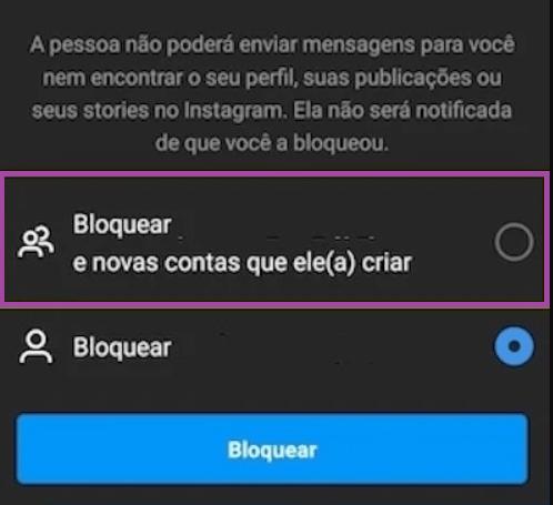 nova função de bloqueio do Instagram