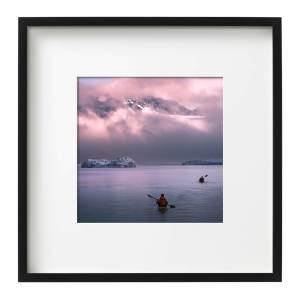 Kayaks Icebergs Midnight Sun East Greenland Black Square Frame