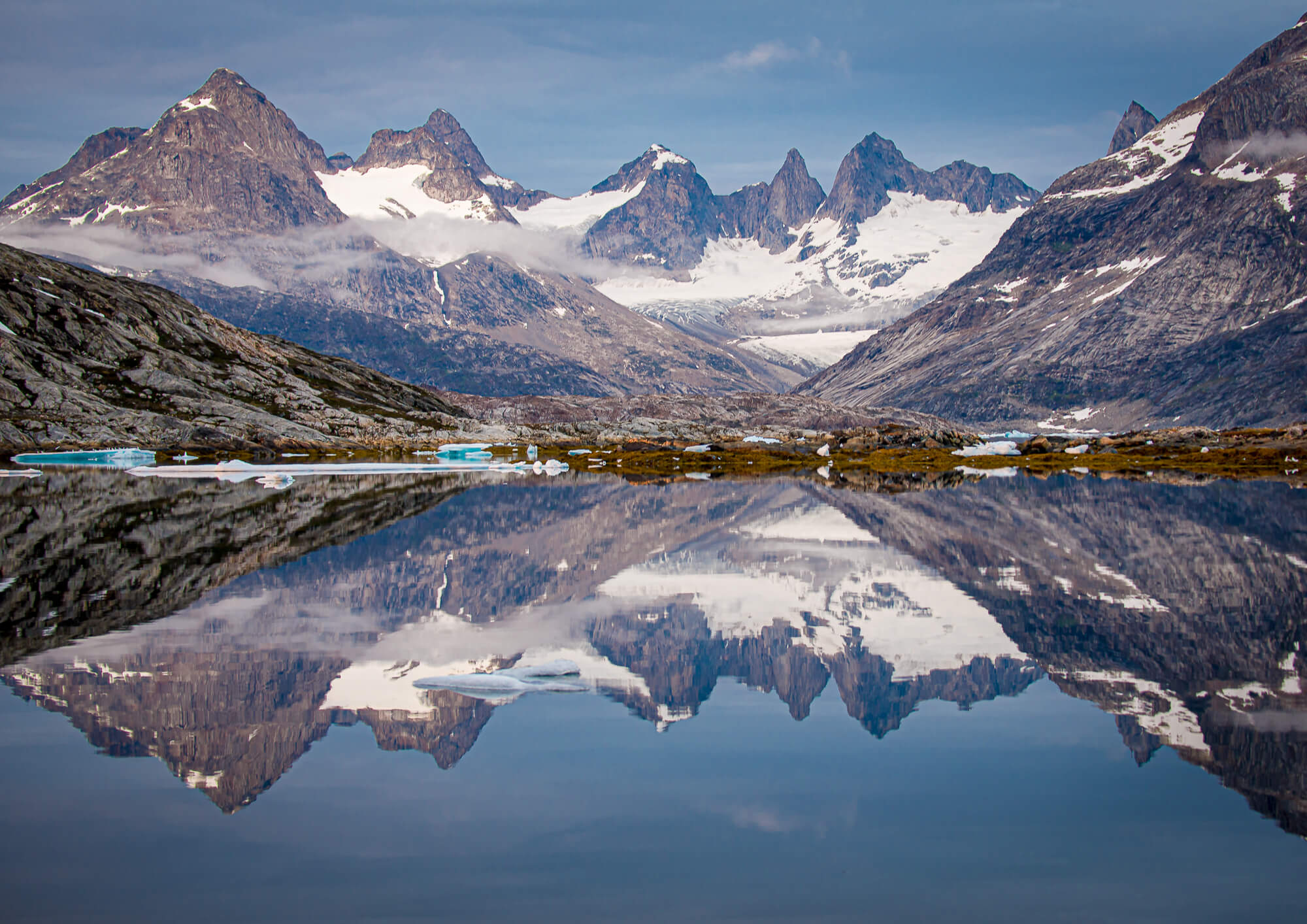 East Greenland Tiniteqilaaq Jagged Peaks Reflection