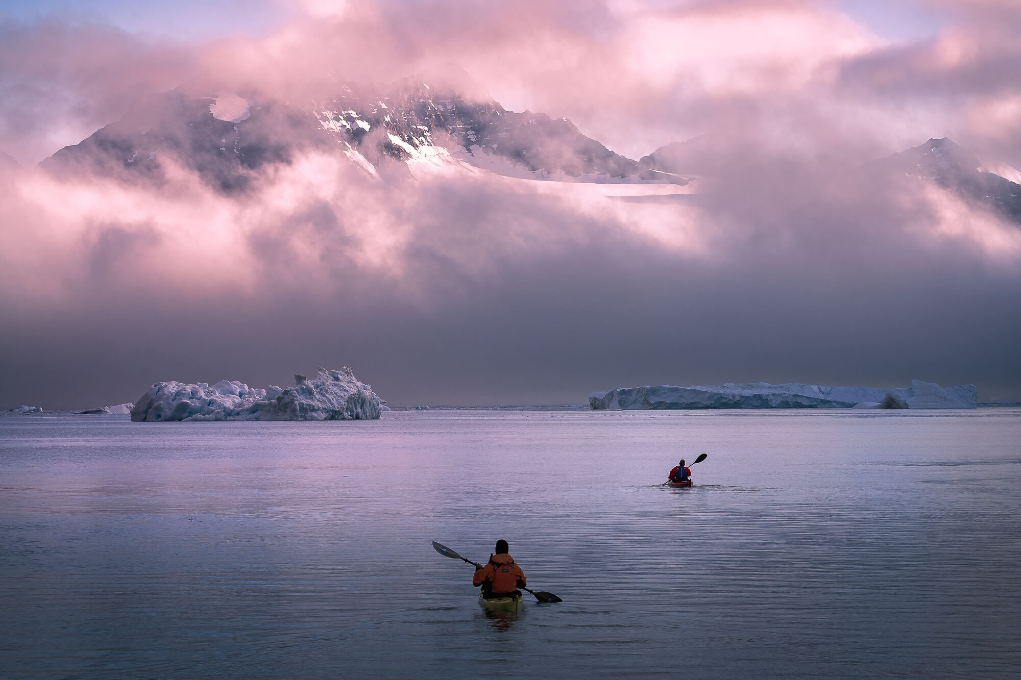 Kayaks Icebergs Midnight Sun East Greenland