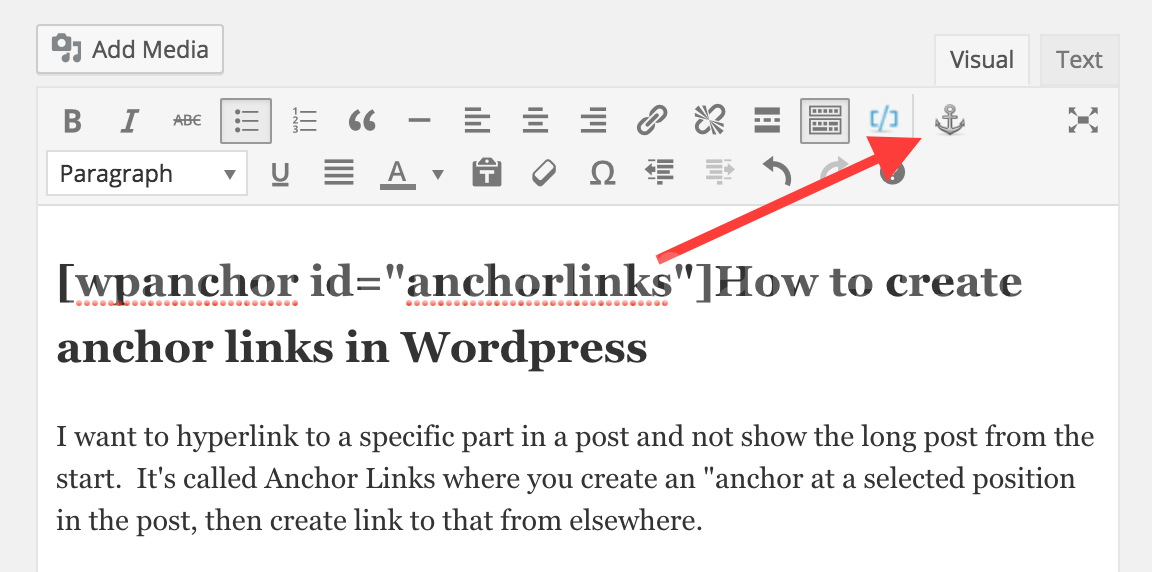 How to create anchor links in WordPress