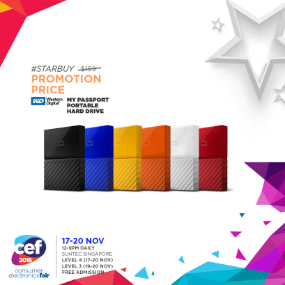 My Passport Portable Hard Drive | Consumer Electronics Fair 2016 | 17-20 Nov 2016 | 12-9pm | Suntec Singapore