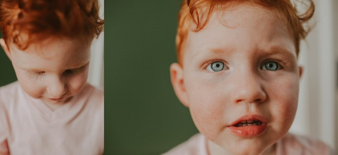 beautiful red head boy details of his face