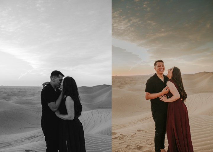 couple laughing and kissing at the sand dunes