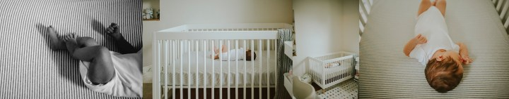 newborn baby boy in crib at home session