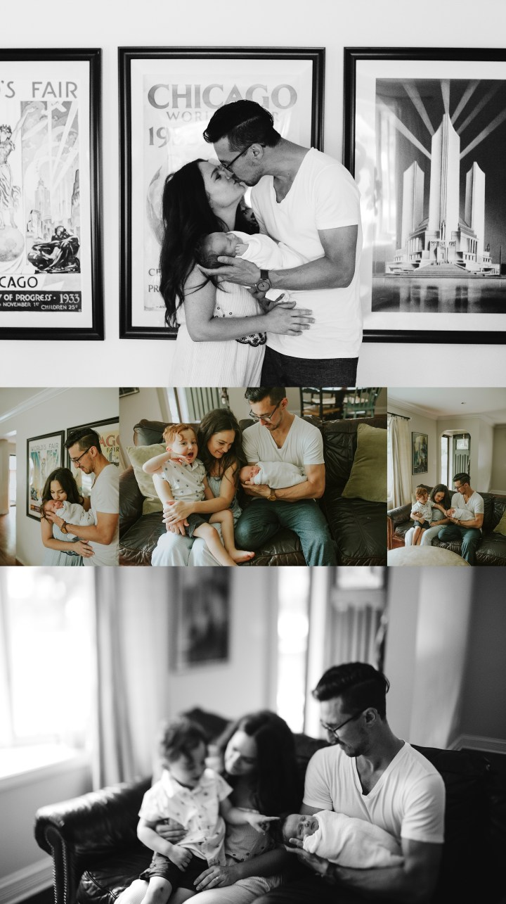 A collage of images in their living room, a new family of four
