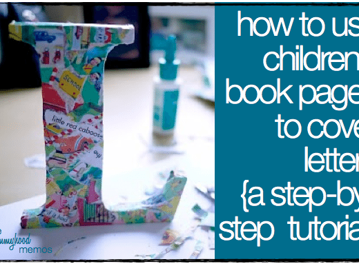 how to use children's book pages to cover letters for a kid's room
