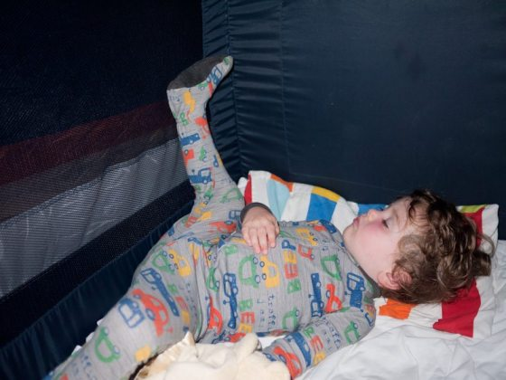 toddler sleeping in a funny position