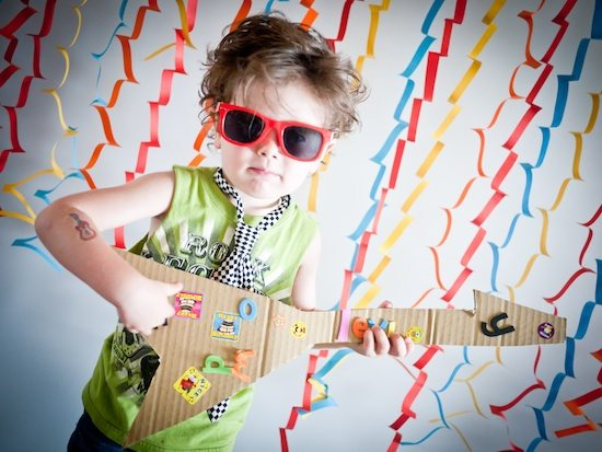 Three-year-old rock star.