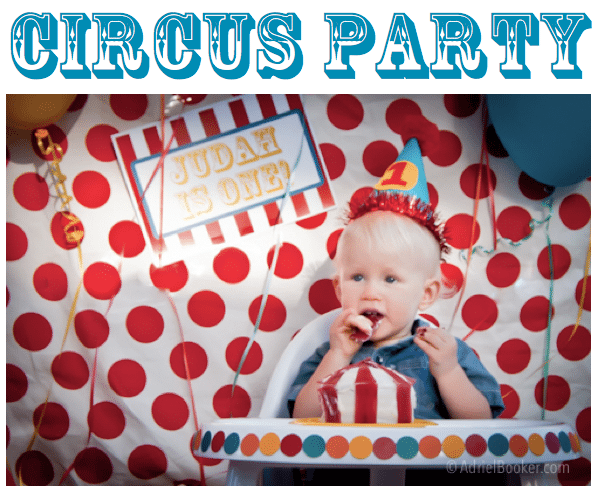 Circus Party for Judah's First Birthday – circus tent smash cake.