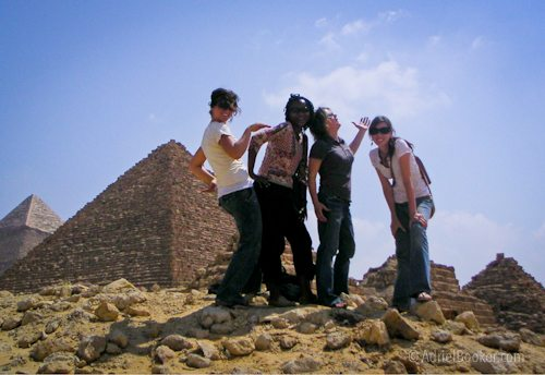 girls at pyramid cairo egypt 2006