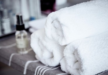 Soft, fluffy towels and skin care products.