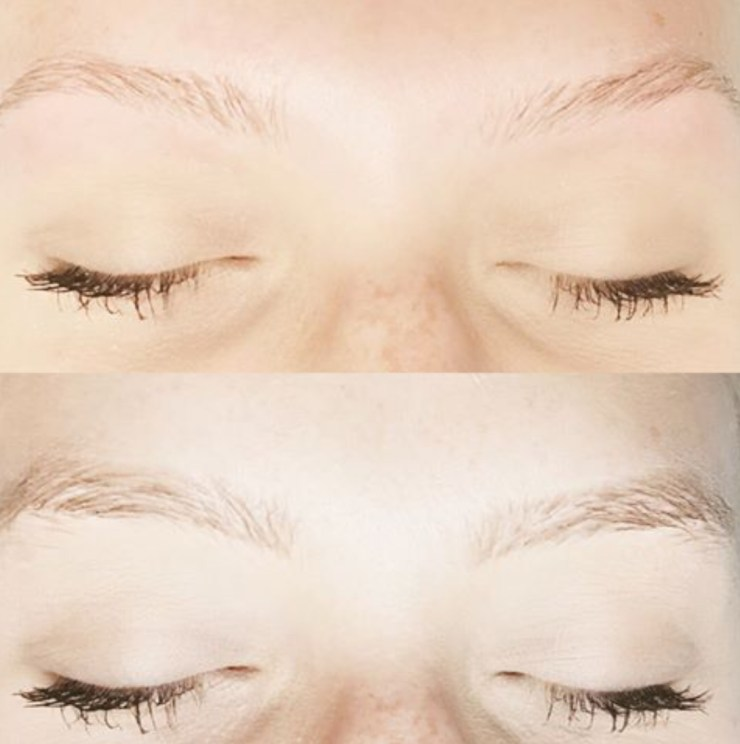 A before and after of an eyebrow wax client