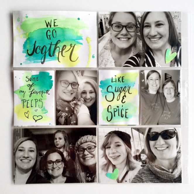 Brush Lettering on Watercolored Project Life Cards
