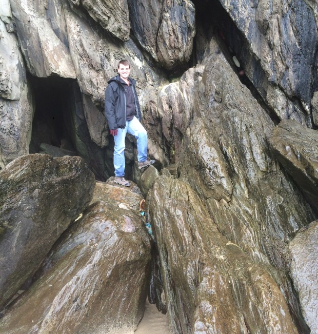 That husband of mine, making me nervous by climbing on the slippery rocks. ;-)