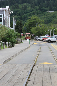 Streetcar coming down the way towards the docks.
