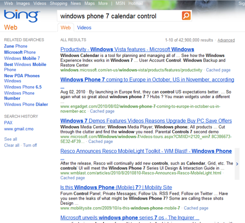Windows Phone 7 Calendar Control Search Results