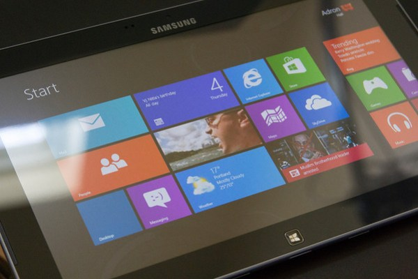 The ATIV with Windows 8 Start Screen displayed. (Click for full size)