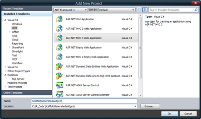 ASP.NET MVC 3 Web Application (Click for full size image)