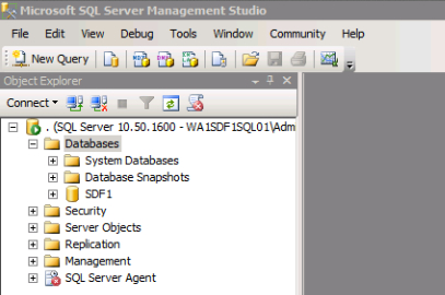 Using SQL Server Management Studio checking that the SQL Server Exists