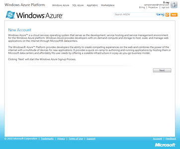 Signing up for a Windows Azure Service