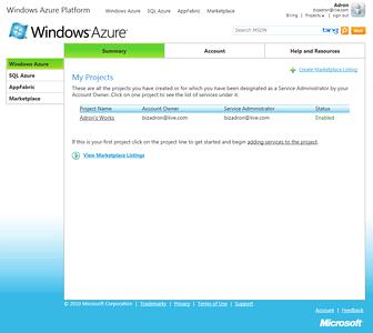 Windows Azure Portland Interface