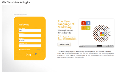 This is the initial login screen to the OnDemand Marketing Lab Site.