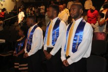 Project SEARCH graduates stand during the UAB commencement ceremony in Birmingham