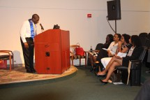 A graduate speaks at UAB's Project SEARCH commencement