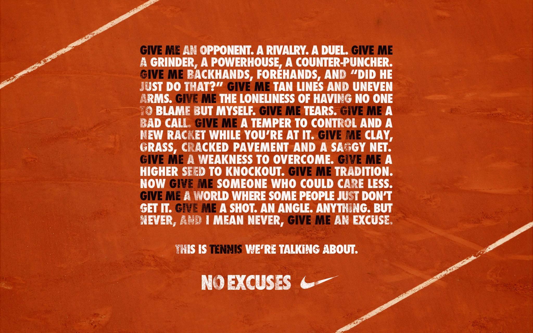 La Iphone Wallpaper Recopilaci 243 N Nike Tennis No Excuses Ads Amp Marketing In