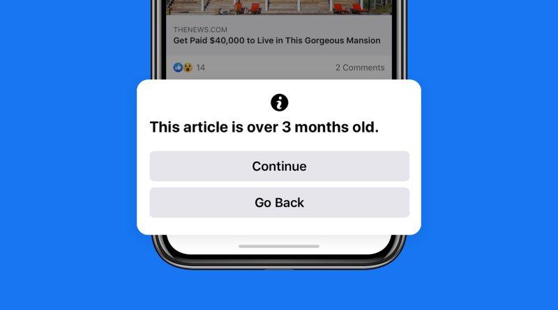 Facebook avisará si se va a compartir una noticia antigua