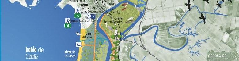 mapa-guía del Parque Natural Bahía de Cádiz