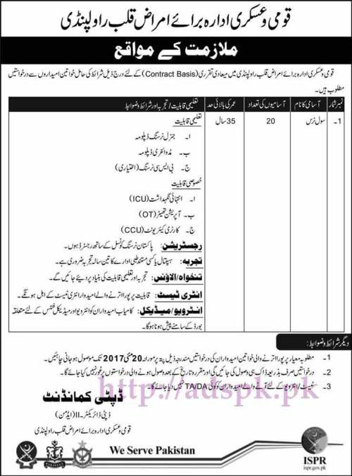 20 New Civil Nurses Jobs in Armed Forces Institute of Cardiology & National Institute of Heart Diseases (AFIC NIHD) Rawalpindi Jobs 2017 for Civil Nurse Jobs Application Deadline 20-05-2017 Apply Now