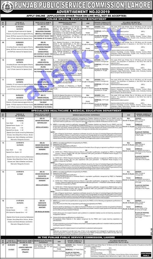PPSC Ad No. 02/2019 Written Test MCQs Syllabus Paper for 148 JSET Junior Special Education Teacher 86 Senior Special Education Teacher SSET Posts Jobs Application Form Deadline 28-01-2019 Apply Online Now by PPSC