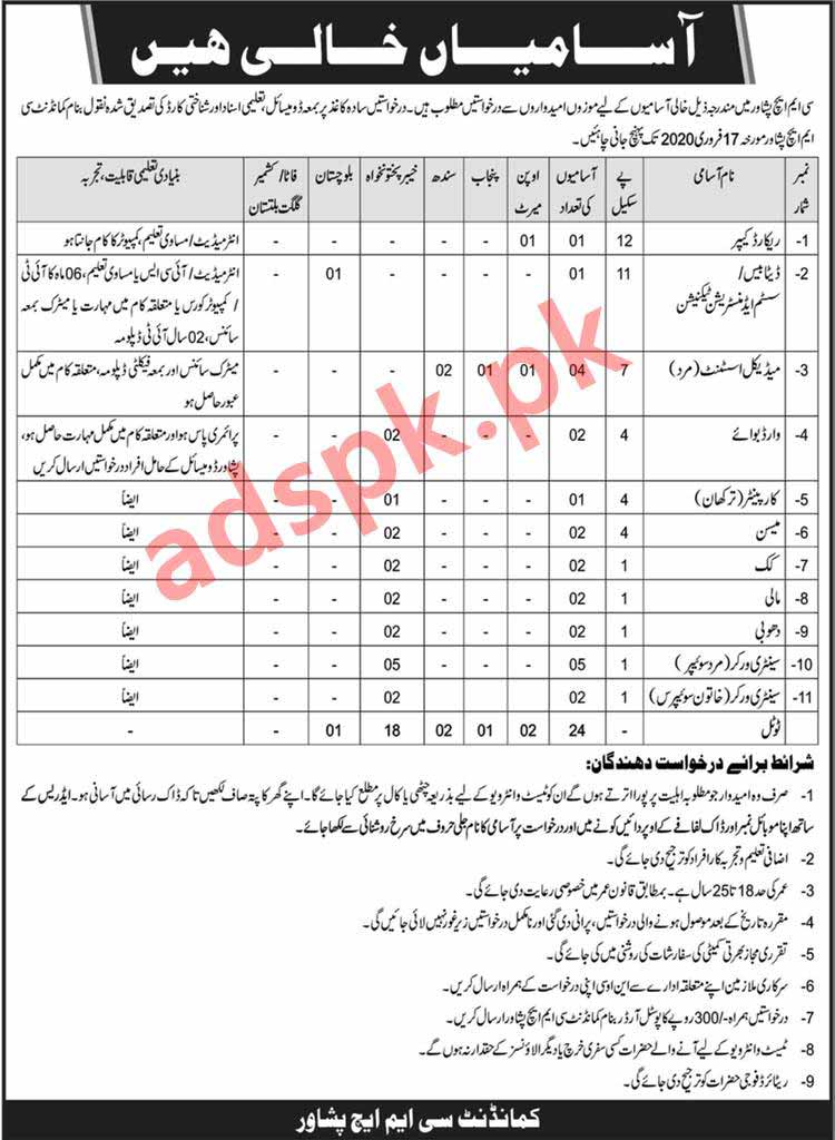24 Jobs CMH Peshawar Jobs 2020 for Record Keeper Database