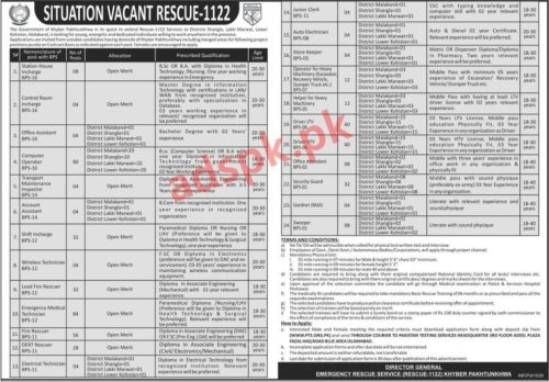 552 Jobs Rescue 1122 KPK Jobs 2020 PTS Written Test MCQs Syllabus Paper for Station House Incharge Computer Operator Shift Incharge Lead Fire Rescuer EMT Jobs Application Form Deadline 25-02-2020 Apply Now