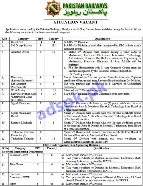 998 Jobs Pakistan Railways Phase-V (PR-HQOL) Jobs 2018 PTS Written Test MCQs Syllabus Paper BPS-06 to BPS-14 Guard Gr-I SM Group Student Assistant Driver Revenue Inspector Lady Reservation Clerk Signal Maintainer General Category Class Trade Apprentices on Operating Division Workshop Division Technical Skilled Staff Jobs Application Form Deadline 10-12-2018 Apply Now