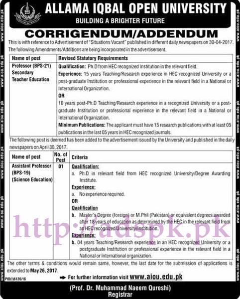 AIOU Islamabad Jobs 2017 for Professor Secondary Teacher Education Assistant Professor Science Education Jobs Application Deadline 26-05-2017 Apply Now